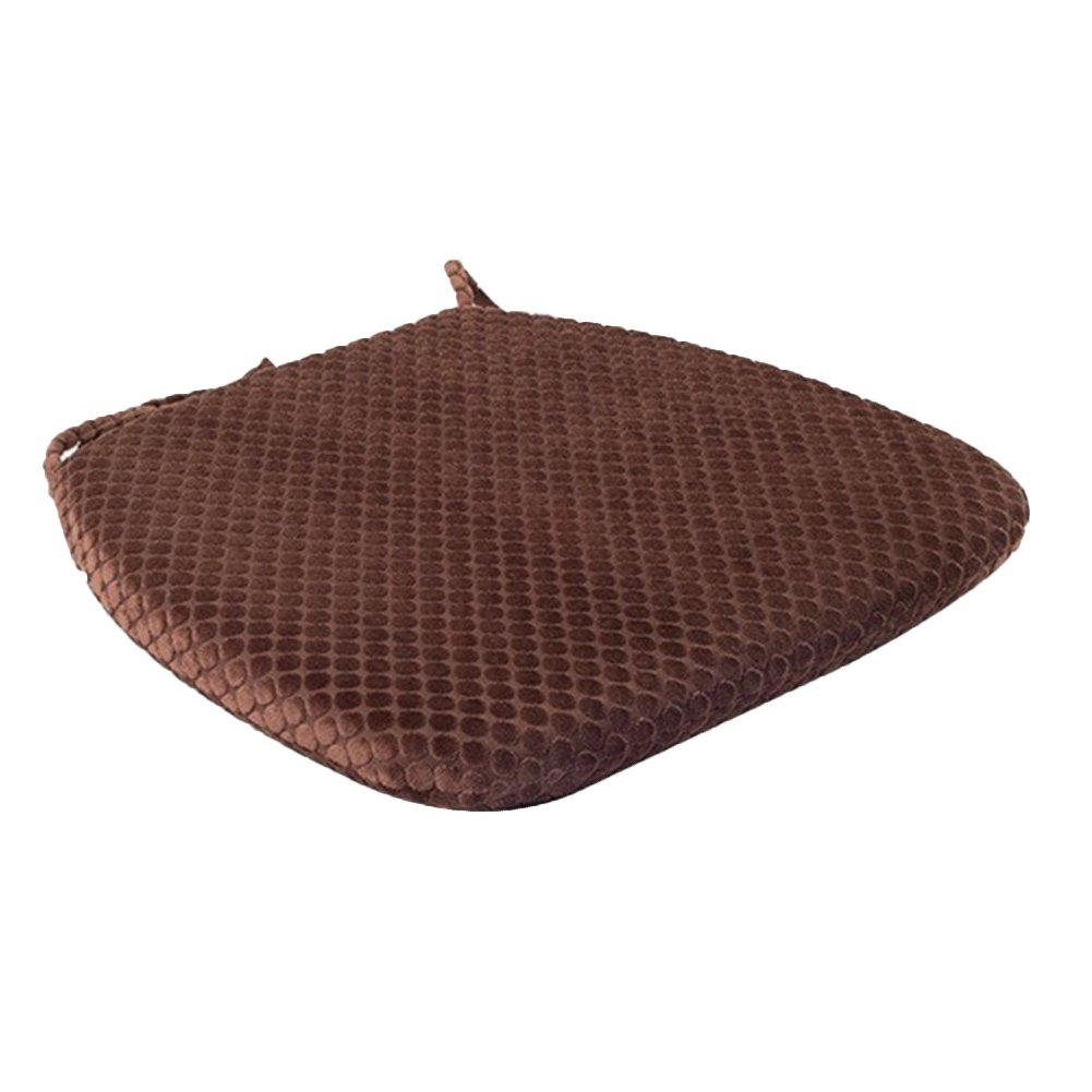 """diffstyle Round Memory Foam Seat Cushion Home Office Dining Chair Pad with Ties 12.2"""" x 16.5"""" x 17.7"""" (Deep Coffee)"""