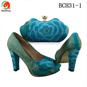 BCH31 Queency 2017 Multi Color Latest Nigeria Style Italian Ladies Matching Shoe and Bag Set for Women