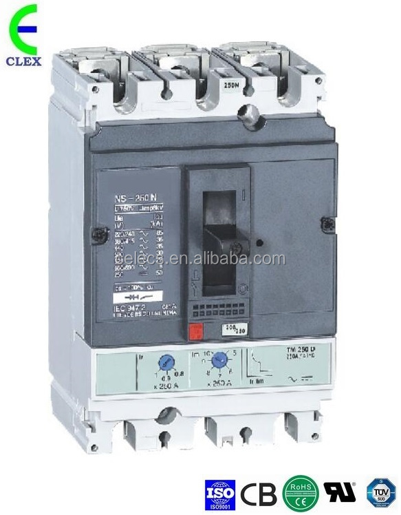 NS400-H 200 225 250 300 315 350 400A 3P/4P series current adjustable mccb moulded case circuit breaker
