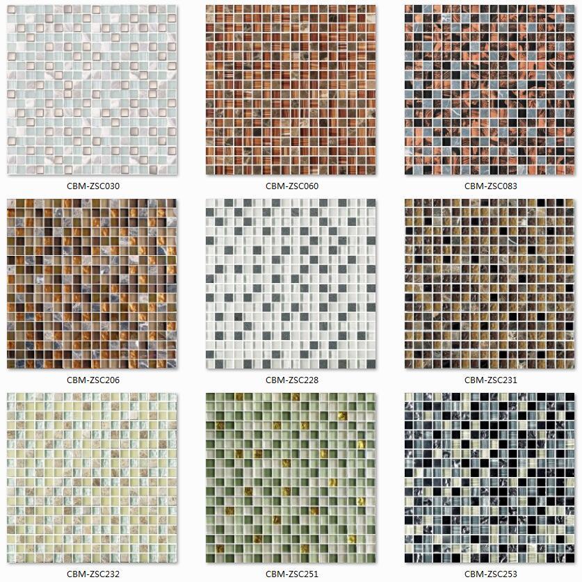 300x300mm Goldfarben Bad Wand Boden Glas Mischen Stein Mosaik