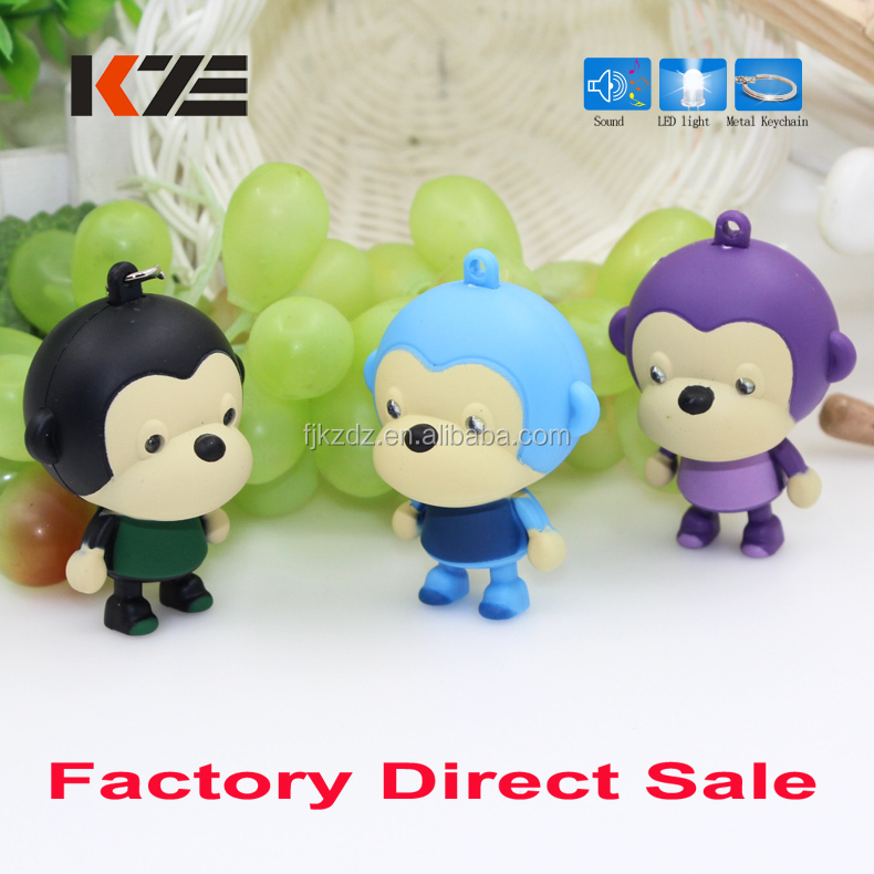 Fashion monkey design mini led torch keychain with sound make