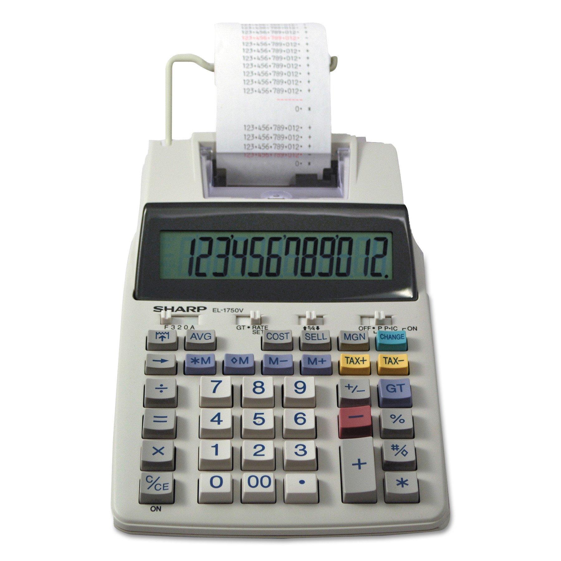 Sharp EL-1750V 12 Digit Compact Desktop 2-Color Printing Calculator