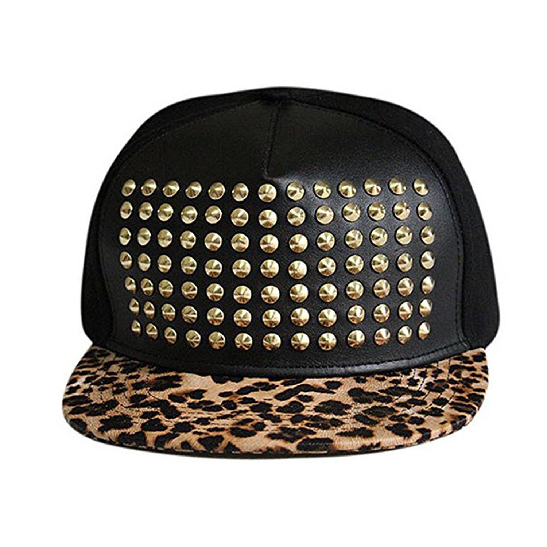 36e7719bb27 Get Quotations · CC-US Unisex Flat Hat Baseball Cap Punk Hip Hop Hat  Snapback Hat With Spike