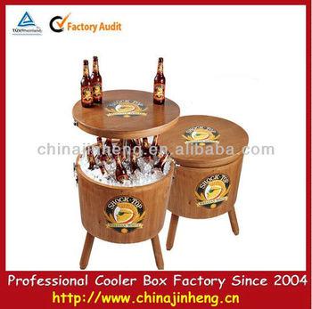 Garden Wooden Cooler Box Round Barrel Beer Cooler,wooden Ice Bucket,corona  Ice Cooler
