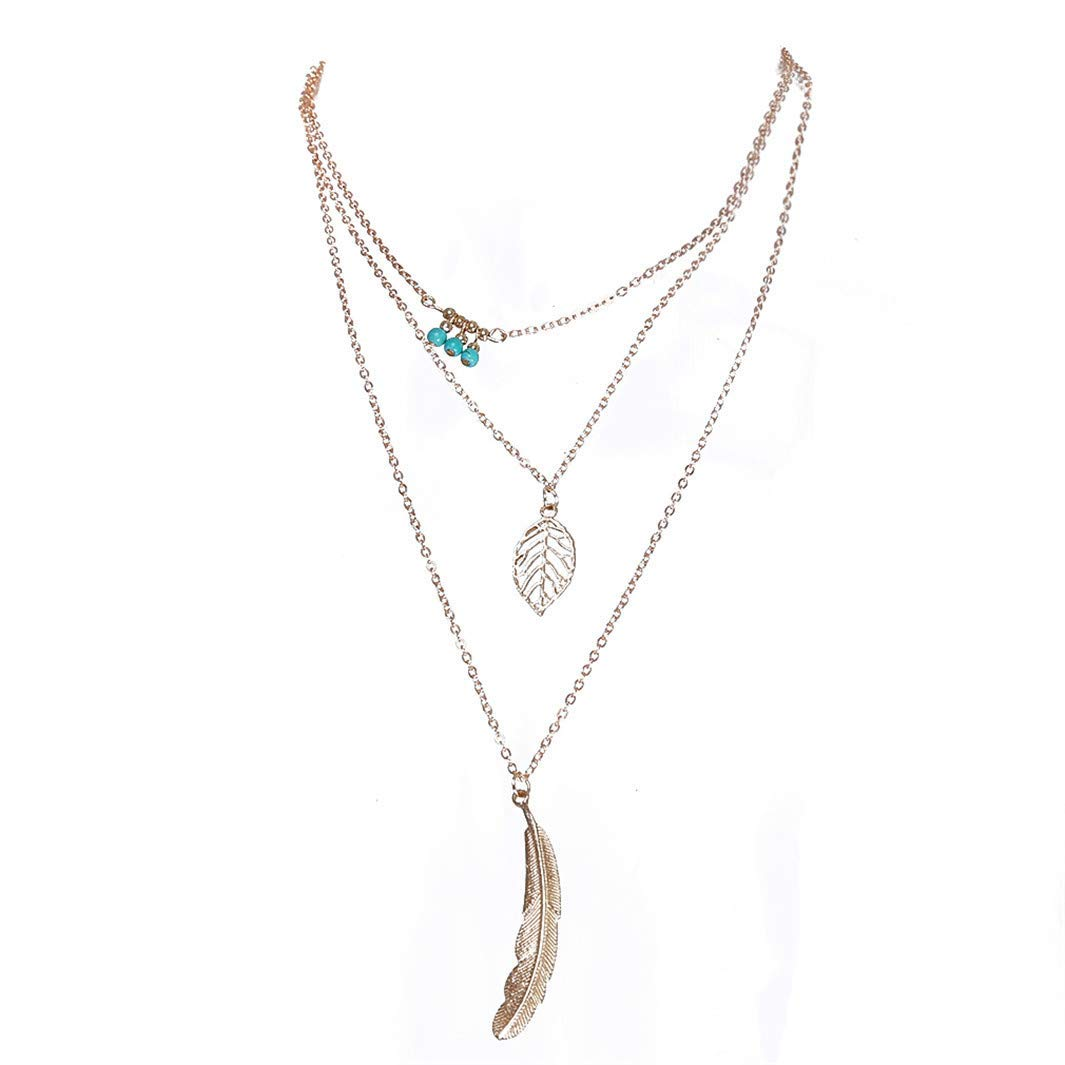 YouCY Leaf Feather Pendant Chain Necklace Fashion Women Multilayer Irregular Boho Beaded Necklace,Golden