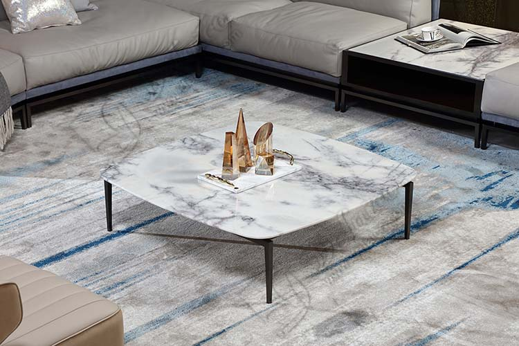 Modern Italian Luxury Villa 304 Stainless Steel Volakas Marble Top Coffee Table cupboard for Hotel