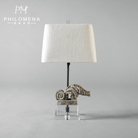 2017 European Concise Electric Crystal & Wooden Base Night Unique Table Lamp