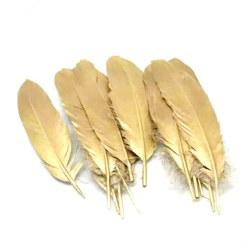 High Quality Metallic plume Gold Painted Goose Feathers for DIY And Carnival Costumes Design