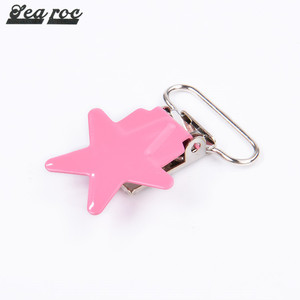 Multi color and style heart star metal suspender clips