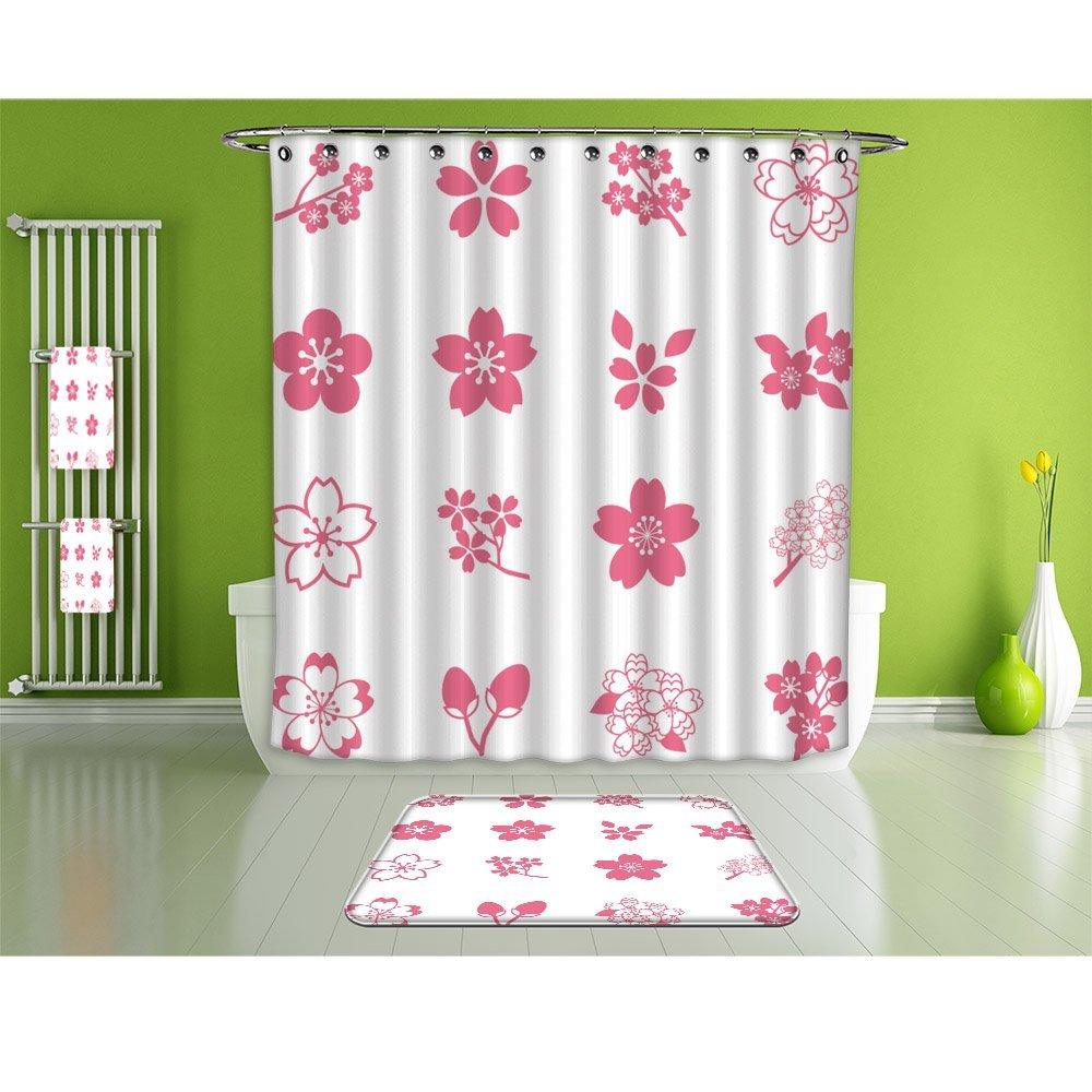 NALAHOMEQQ Bathroom Suits/16Piece Bathroom Set/Bathroom Accessory Set,1 Shower Curtains&1 Floor Mats&1 Bath Towels &1 Towel And 12 High-grade hook Decorate the bathroom(cherry blossom icon set)