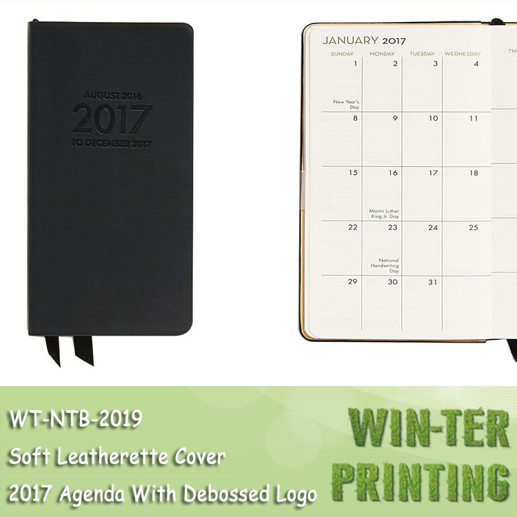 WT-NTB-2019 Pocket planner agenda 2017 leather soft cover