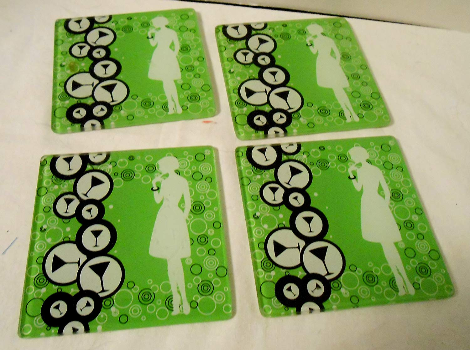eeb7248b67b Get Quotations · Set of 4 Green Glass Coasters With Martini Glasses and  Ladies Silhouette