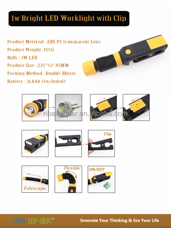 BT-4380 Multi-function Clamp Light 1W LED Work Light with Clip