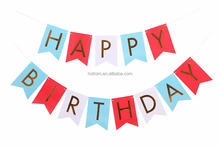 Happy Birthday Banner Beautiful and Colorful Party Decoration from Paper for Kids and Adults, Blue, Red and White Pennants