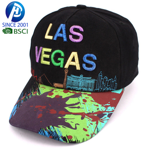 Las vegas 3d embroidery white cotton south america style sport baseball hats and caps
