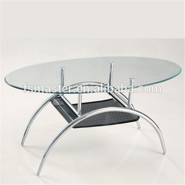 Oval Glass Top Coffee Table With Metal Base: Glass Top Stainless Steel Base Table Oval Top Coffee Table