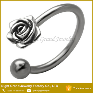 Surgical Steel Cartilage Tragus Rose Horseshoe Nose Ring Circular Barbell