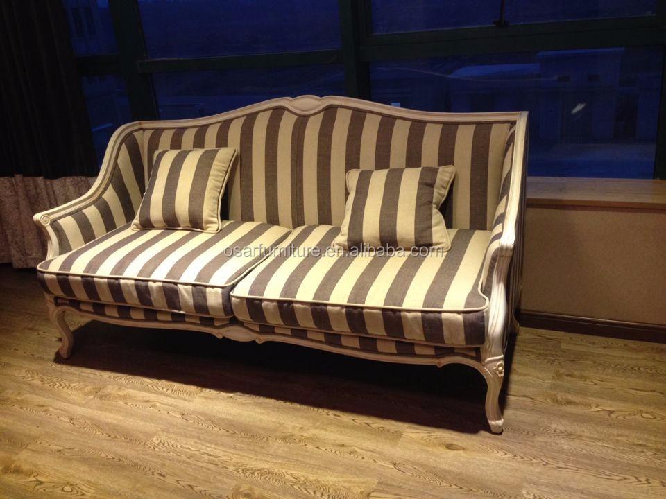 Shabby Chic Furniture Antique White Wood Fabric Upholstered Sofa