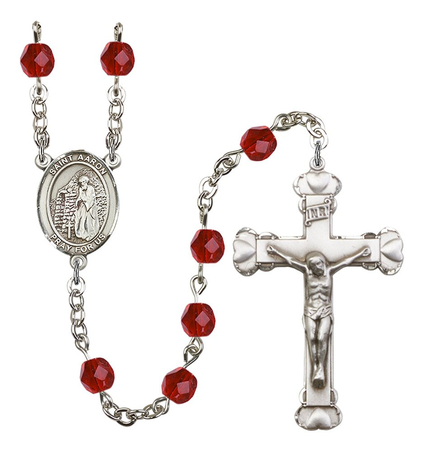 Silver Finish St. Aaron Rosary with 6mm Ruby Color Fire Polished Beads, St. Aaron Center, and 1 5/8 x 1 inch Crucifix, Gift Boxed