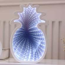 Креативные 3D звезды, любовь, облако, сердце, ананасы, туннельные лампы, милая новинка, Ночной светильник, Сказочная лампа для детей, Детский Р...(Китай)