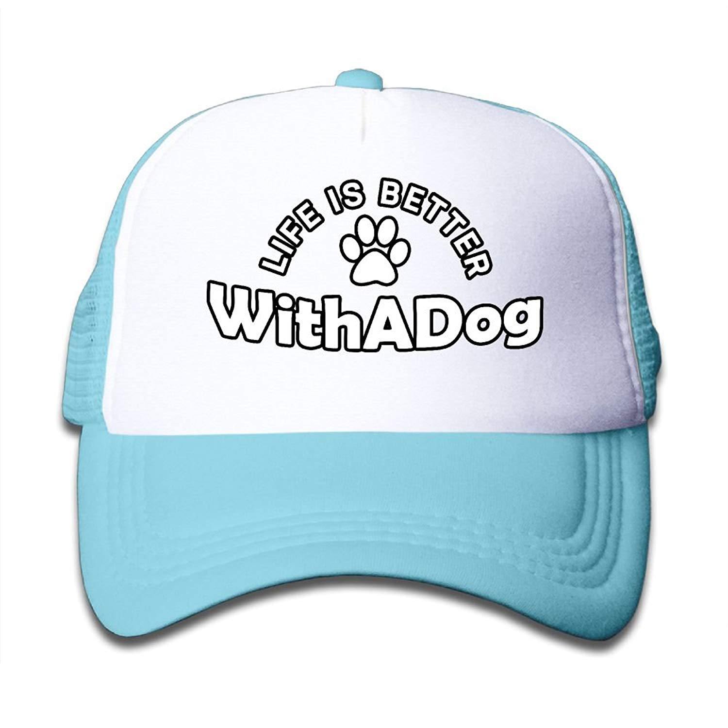 fe61d9168f7 Get Quotations · SARA NELL Life is Better with A Dog Cool Adjustable  Snapback Kids Trucker Hat Caps for