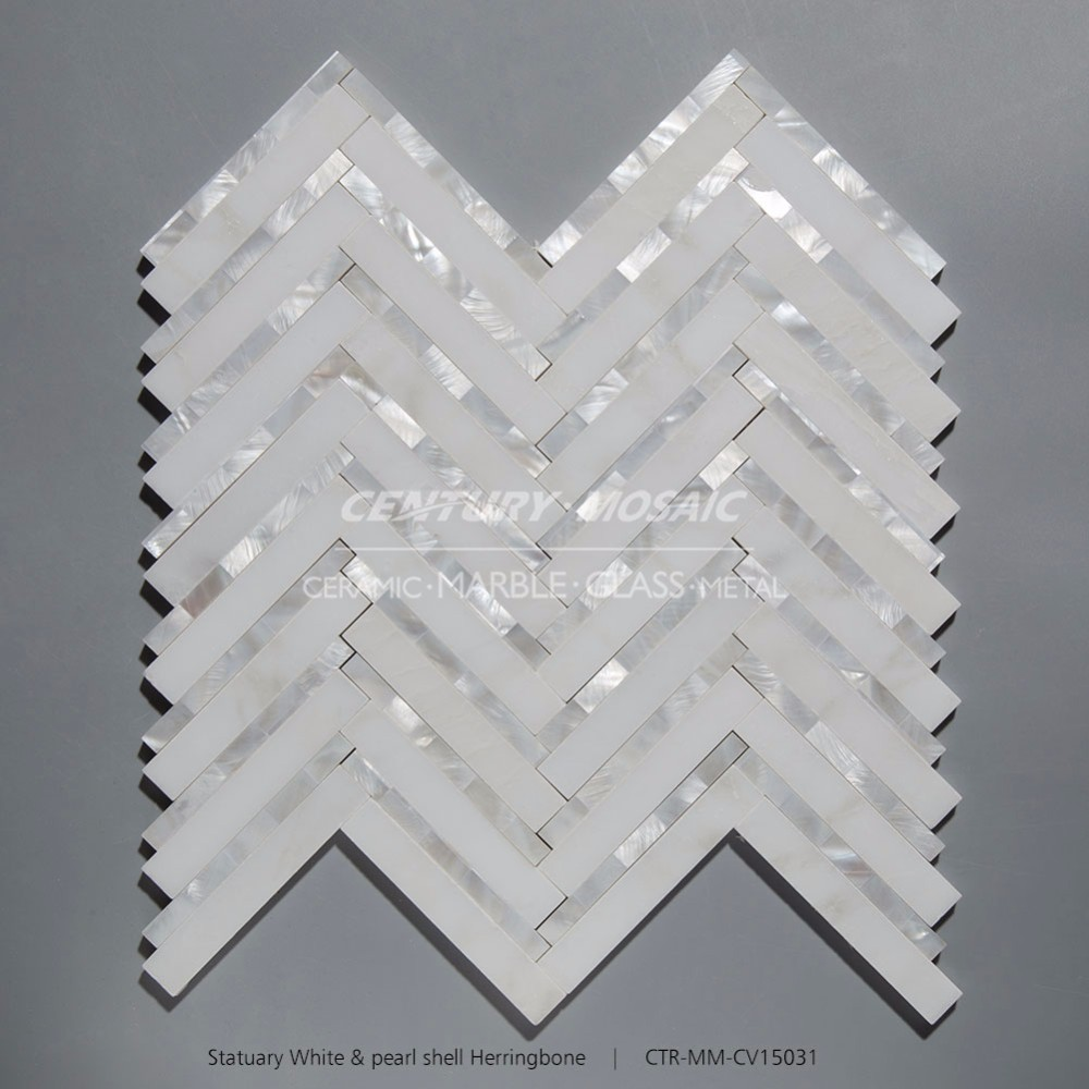 Century Mosaic White Herringbone Marble Mix Mother Of Pearl Shell Mosaic Tile