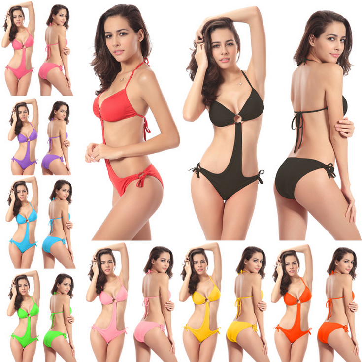 e177ab95b1cdc Women Sexy Swimsuit Summer One-Piece Jumpsuit Bikini Swimwear Padded  Beachwear