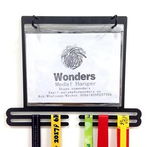 sport medal hanger display for runners with bib holder and picture frame