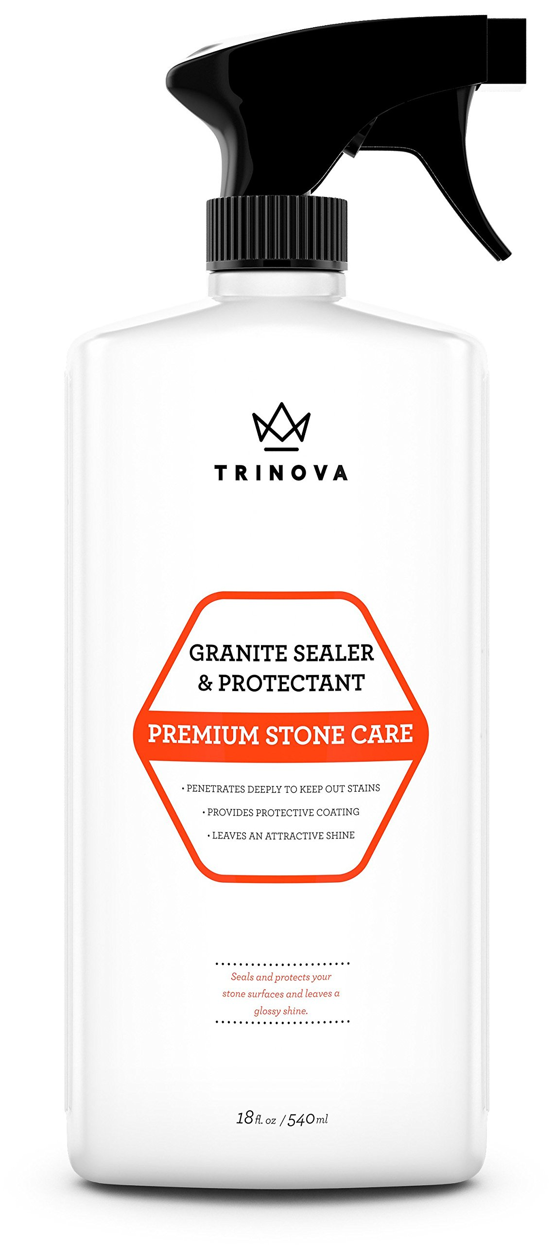 Granite Sealer & Protector - Best Stone Polish, Protectant & Care Product - Easy Maintenance for Clean Countertop Surface, Marble, Tile - No Streaks, Stains, Haze, or Spots - 18 OZ - TriNova
