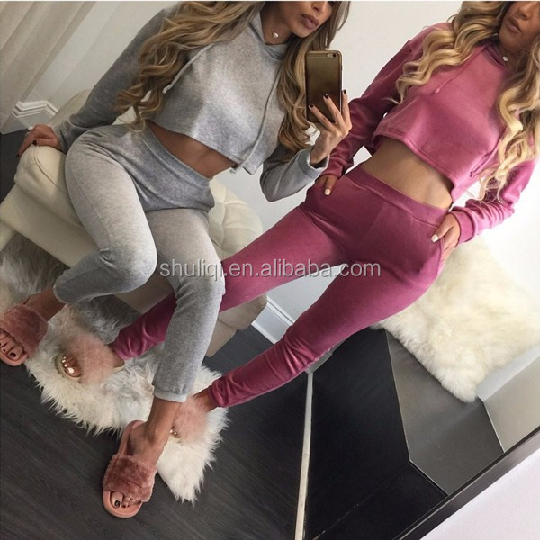 Manufactory custom fleece tracksuit pleuche womens sport tracksuit blank wholesale