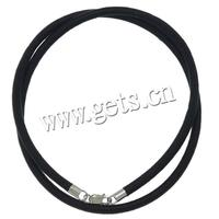 Nylon Coated Rubber Rope Other Shape Rubber Cord Necklace Sterling Silver Clasp 286287