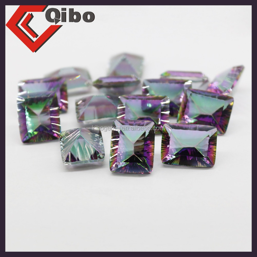 New glass gems colorful synthetic square faceted glass stones