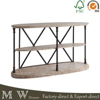 Mrs Woods Industrial 3 shelf console table, oval wood top metal brace sonsole table