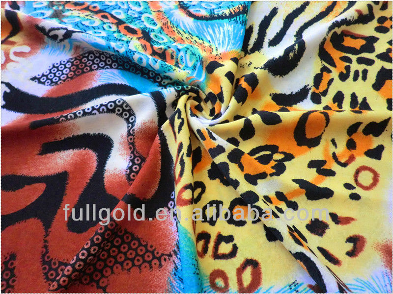 high quality Knitted 100% polyester spandex tiger skin design FDY printed fabric