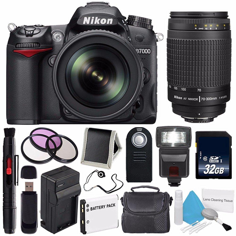 Nikon D7000 DSLR Camera Kit with Nikon 18-105mm f/3.5-5.6G ED VR Lens (International Model) No Warranty + Nikon 70-300mm f/4-5.6G Nikkor Zoom Lens+ External Flash Bundle 44
