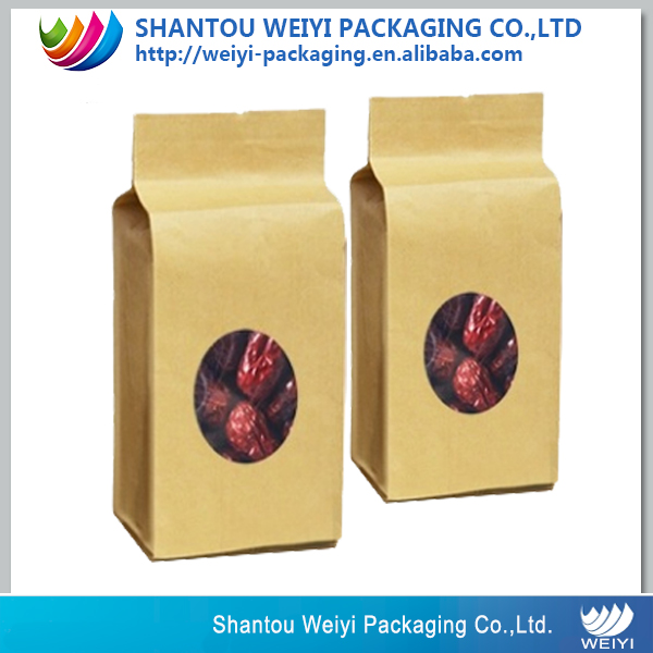 jujube fruit packaging-flat bottom new kraft paper bag for red <strong>dates</strong>