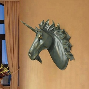 BRONZE WHITE CUSTOMIZED COLOR CREATIVE WALL MOUTED RESIN UNICORN HORSE HEAD RESIN DECORATION FIGURINES