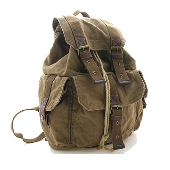 bec4b06024d3 2350 Fashionable Army Green Canvas Backpack Leather Bags for Men with  Leather Tote Handle