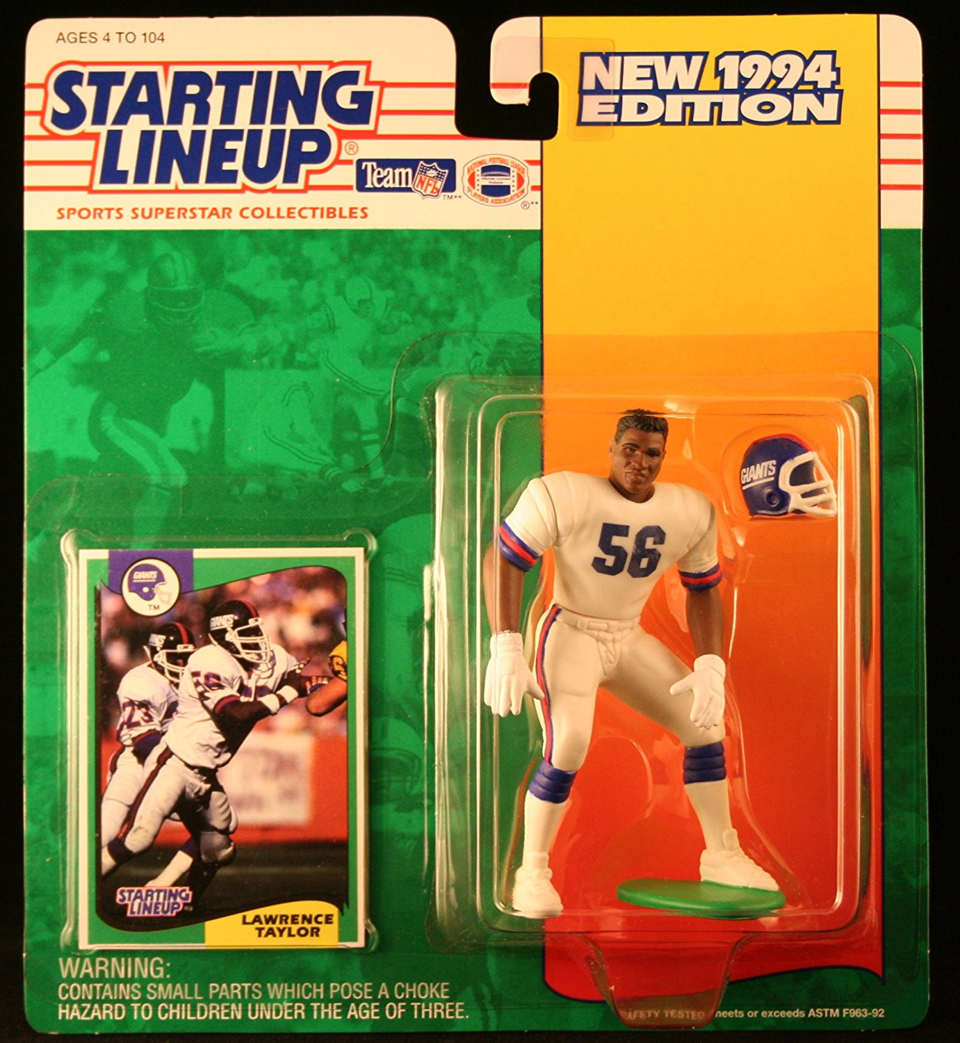 LAWRENCE TAYLOR / NEW YORK GIANTS 1994 NFL Starting Lineup Action Figure & Exclusive NFL Collector Trading Card