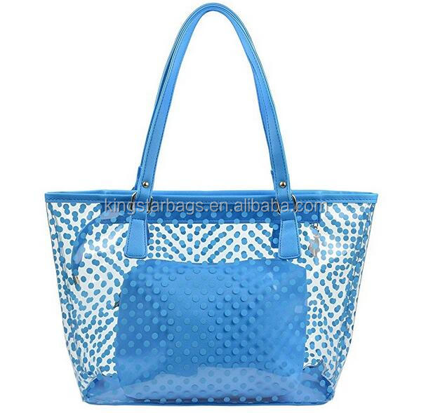 Dot printed PVC shopping bag with removable inner pouch for home/daily use
