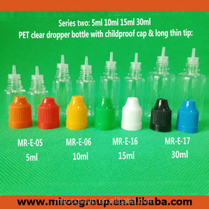Long thin tip plastic dropper bottles with child safety cap for e cigar oil