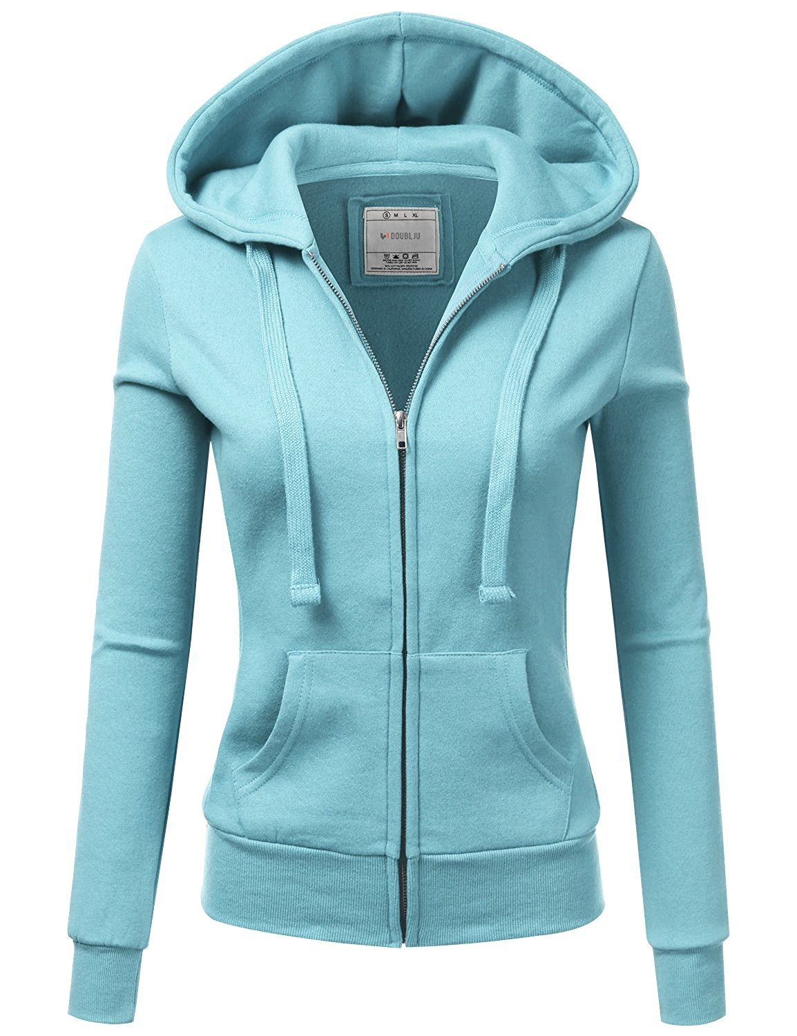 33c253d215b Get Quotations · Doublju Lightweight Thin Zip-up Hoodie Jacket for Women  with Plus Size