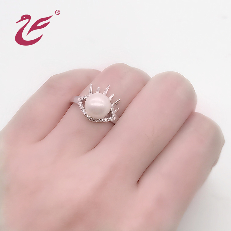 Custom Size Pearl 925 Silver Jewelry Findings Ring pearl ring designs for women