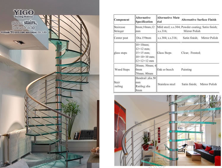 Building Spiral Staircase/glass Stair Step Spiral Stairs