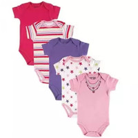 Short sleeve clothing baby girls romper weekly baby boy's daily bodysuit 5 pack set