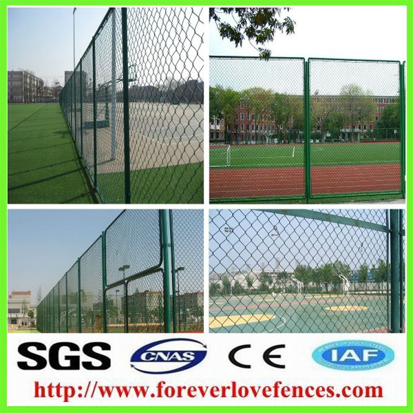 Galvanized+PVC coated Basketball/Football chain link fence/Court chain link fence