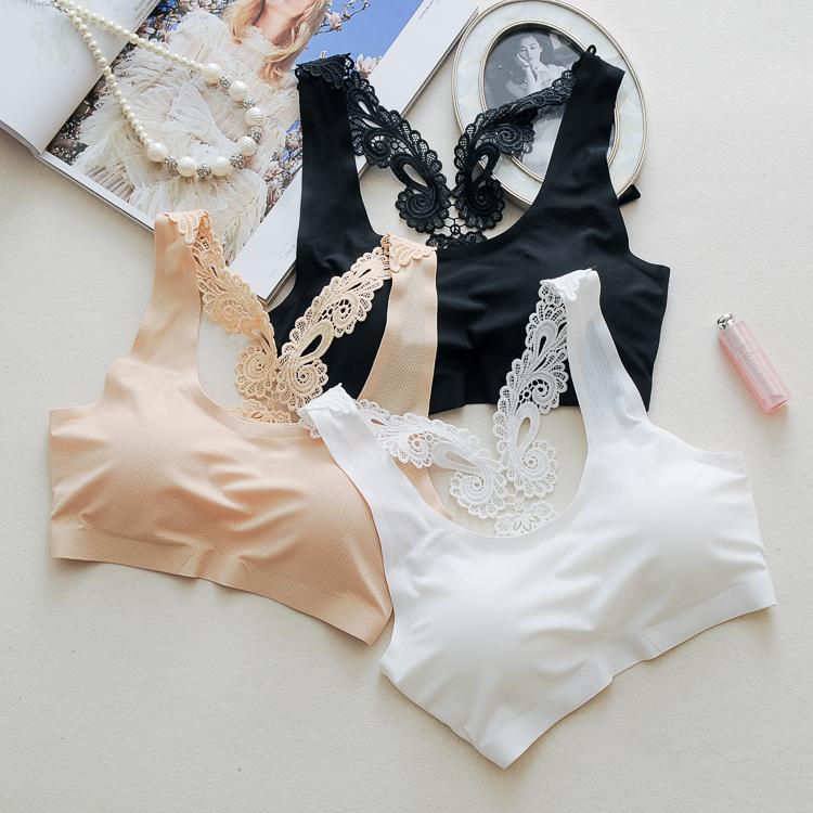 stylish plain comfortable bra anti-exposure underwear sweet girl  sponge  pad tube top
