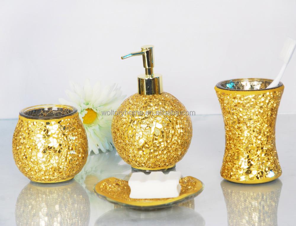 Badkamer Accessoires Goud : Nieuwe ontwerp goud glazen badkamer accessoires set metalen pomp