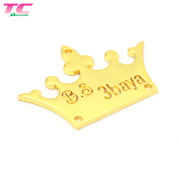 Personalized Shiny Gold Crown Shape Hollowed Metal Name Sewing Logo Label For Garment