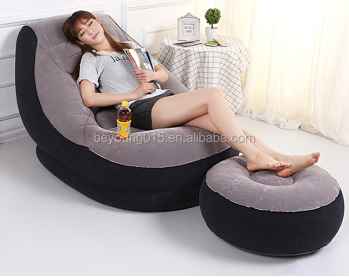 Intex brand EN71 PVC Flocking inflatable sofa with footrest air filling sofa chair inflatable sofa chair